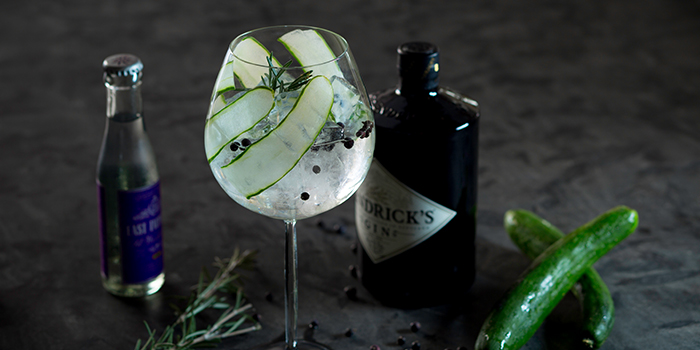 Hendricks Gin & Tonic from Lobby Lounge in Conrad Centennial Hotel in Promenade, Singapore