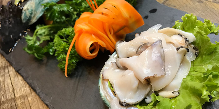 Freshly Sliced Abalone from Sea Tripod Seafood Paradise in Outram, Singapore