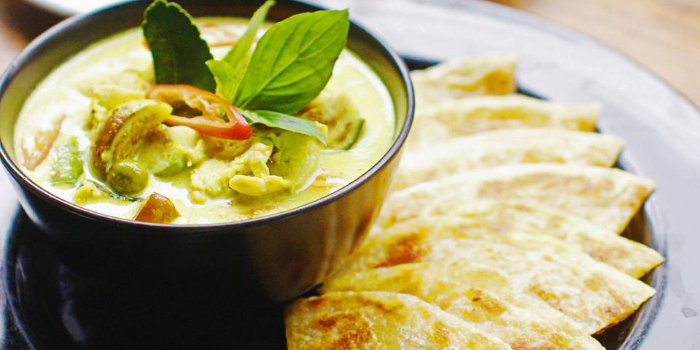 Chicken Green Curry Soup with Roti from ELLA Bar & Bistro in Patong, Phuket, Thailand.