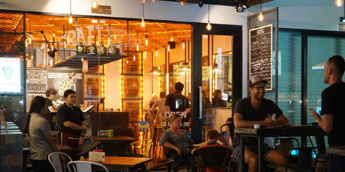 Evening Outdoor Atmosphere of BrewBridge Craft BEER in Cherngtalay, Phuket, Thailand.