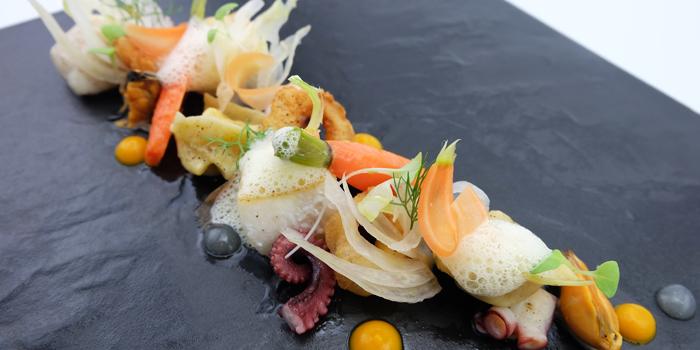 Halibut With Mussel, Octopus, Squid, Fennel, Carrot, Mussel And Saffron from The Reflexions at Plaza Athénée Bangkok, A Royal Meridien Hotel, Bangkok