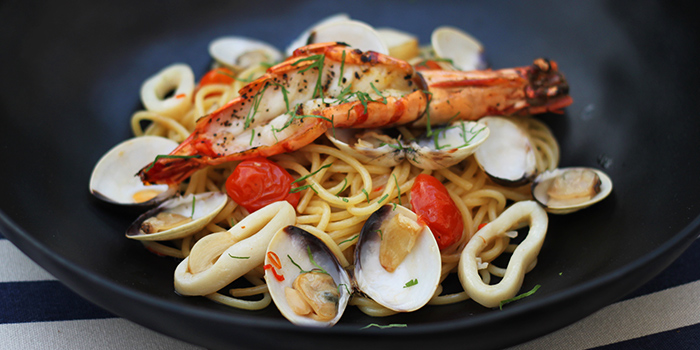 Seafood Aglio Olio from Kontiki in Kallang, Singapore