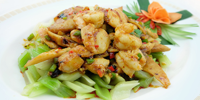 Sauteed Seafood from Silk Road at Plaza Athénée Bangkok, A Royal Meridien Hotel, Bangkok