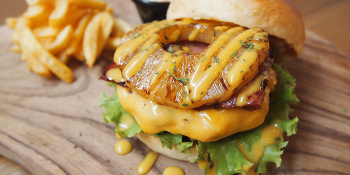 Grilled Pineapple Pork Burger at Buns & Meat Bali