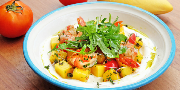 Grilled Prawns Salsa from Bubbles Restaurant in Patong, Phuket, Thailand.