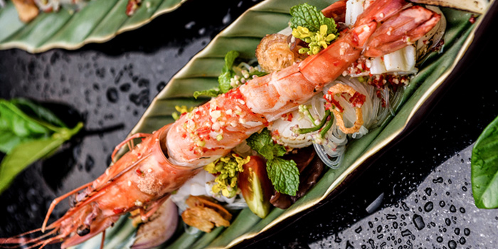 Grilled Shrimps Skewer Herbs from Romsai  at Banyan Tree Bangkok in Sathorn, Bangkok