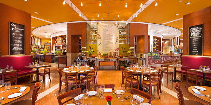 Main Dining Area of Prego at Fairmont Singapore in City Hall, Singapore