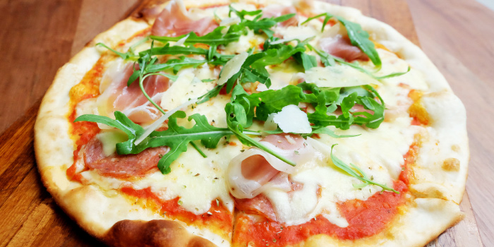 Salami & Prosciutto Pizza from Bubbles Restaurant in Patong, Phuket, Thailand.