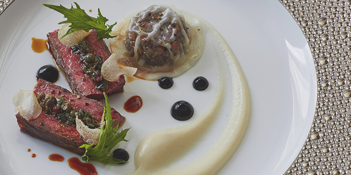 Striploin with Oxtail Ravioli, Gaddi