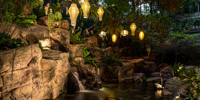 Waterfall from Romsai  at Banyan Tree Bangkok in Sathorn, Bangkok