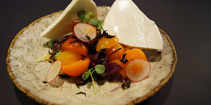 Tomato Salad with Pickled Hijiki & Meringue from Le Binchotan in Tanjong Pagar, Singapore
