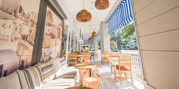 Patio of Bakalaki Greek Taverna on Seng Poh Road in Tiong Bahru, Singapore
