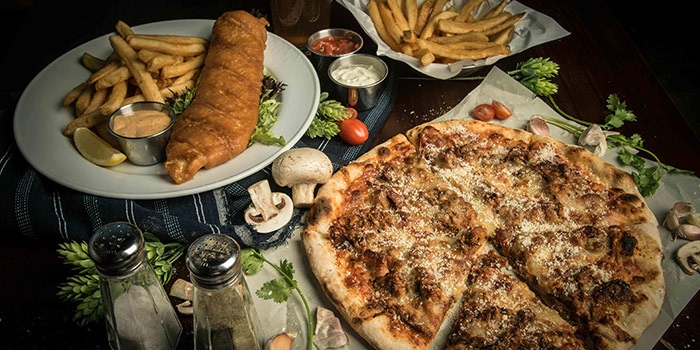 Fish & Chips and Pizza from Brewerkz Indoor Stadium at Kallang, Singapore