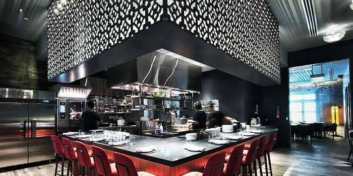 Open Kitchen of Coriander Leaf at CHIJMES in City Hall, Singapore