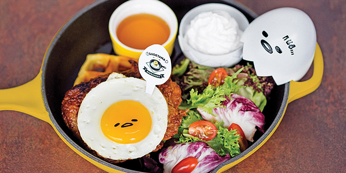 Eggcited Cajun Chicken with Waffles from Gudetama Cafe Singapore at Suntec City in Promenade, Singapore