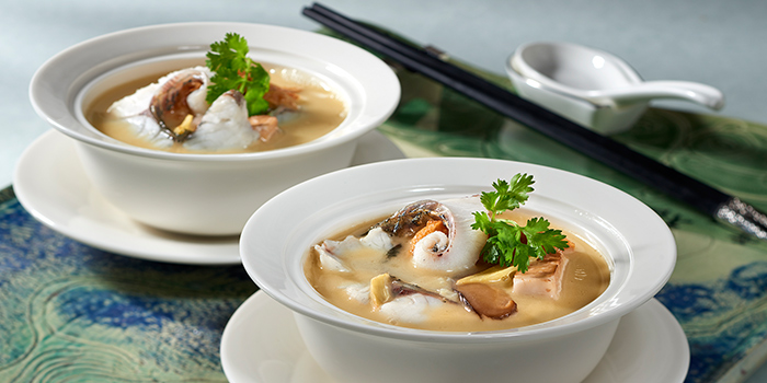 Sliced Sea Bass in Fish Broth from Jade at Fullerton Hotel in Fullerton, Singapore