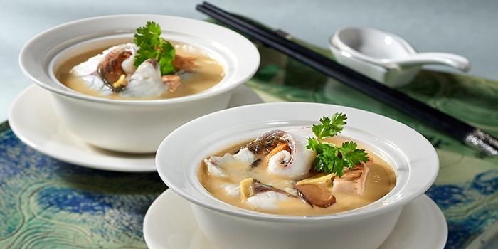Sliced Sea Bass in Fish Broth from Jade at Fullerton Hotel in Fullerton, Singapore