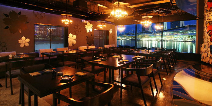 Interior of Kinki Restaurant + Bar in Collyer Quay, Singapore