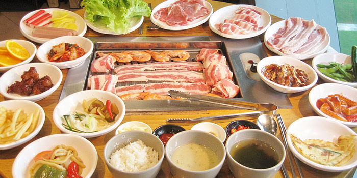 Food Spread from OPPA Korean BBQ Buffet (Jurong East-JCube) in Jurong, Singapore