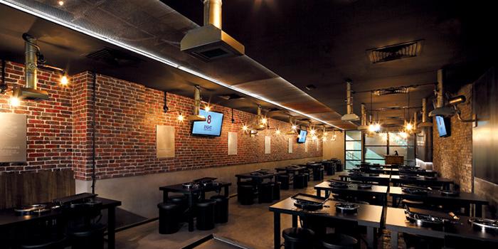 Interior of 8 Korean BBQ (The Central) in Clarke Quay, Singapore