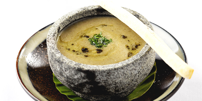 Mushroom Truffle Bisque Served in Hot Stone from LingZhi Vegetarian (Liat Towers) in Orchard Road, Singapore