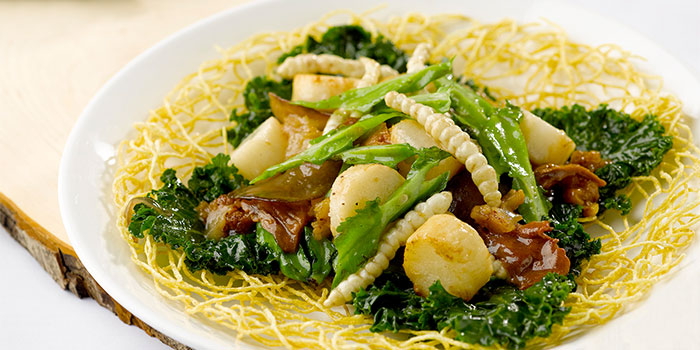 Sautéed Fresh Cordyceps, Huai Shan and Winged Beans from LingZhi Vegetarian (Liat Towers) in Orchard Road, Singapore