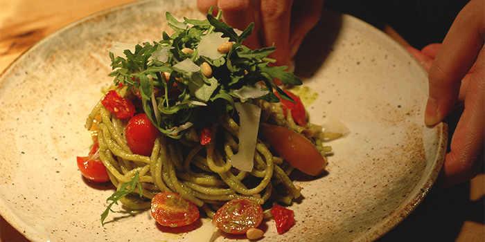 Basil Pistachio Pesto Pasta from Old Hen Kitchen in Little India, Singapore