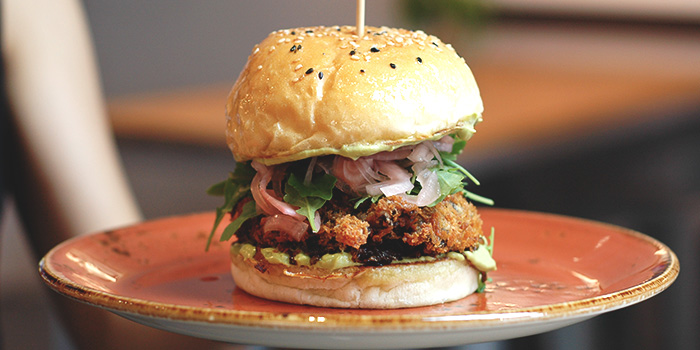 Fried Portobello Burger from Old Hen Kitchen in Little India, Singapore