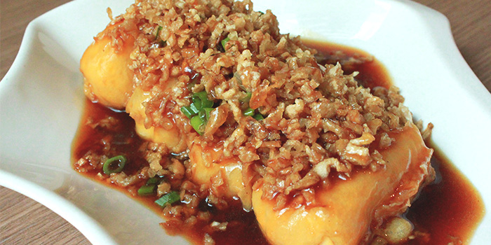 Golden Egg Tofu with Crispy Cai Po from Xi Yan Shaw in Orchard, Singapore