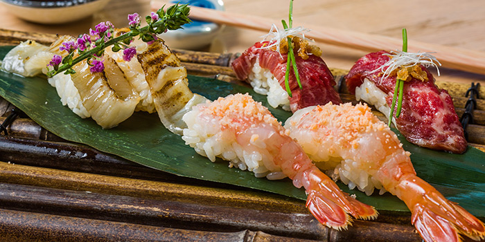 Assorted Shrimp and Sushi, Shoku Japanese Binchotan Grill, Repulse Bay, Hong Kong