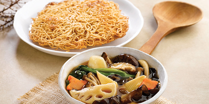 Wok-Fried Assorted Vegetable Noodle with Gravy from Crystal Jade Hong Kong Kitchen (Causeway Point) in Woodlands, Singapore