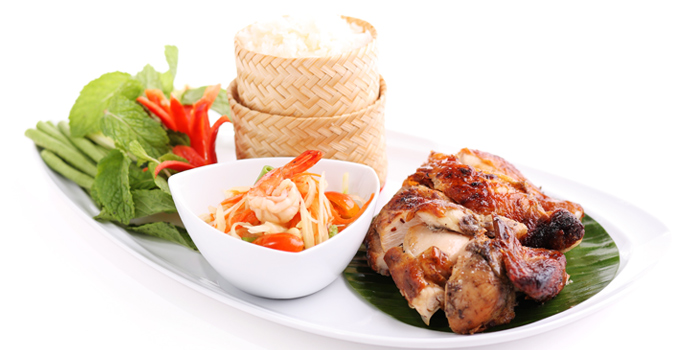 Grilled Chicken with Sticky Rice from Jim Thompson Restaurant and Lounge on Surawong Road, Bangkok