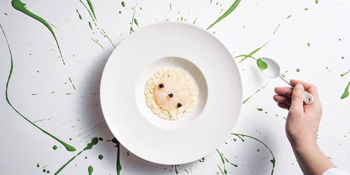 Carnaroli Risotto, Sea Lettuce, Hokkaido Scallop, Baeri Caviar from LaBrezza at The St. Regis Singapore in Tanglin, Singapore