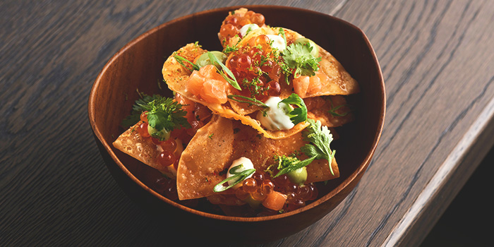 Salmon Tartare Ikura Wasabi Nachos from Butcher Boy in Keong Saik, Singapore