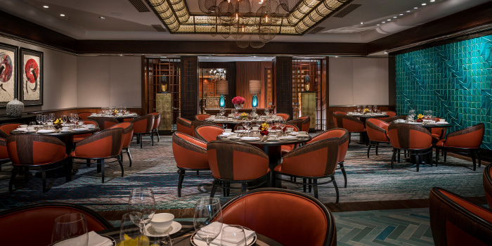 Main Dining Hall of Jiang-Nan Chun Restaurant at Four Seasons Hotel Singapore in Tanglin, Singapore