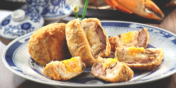 Crabmeat Roll with Chicken Liver and Salted Egg from Spring Court in Chinatown, Singapore