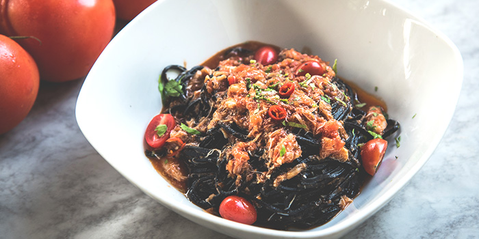 Squid Ink Taglierini with Spicy Crab Meat from Spizza at Balmoral Plaza in Bukit Timah, Singapore