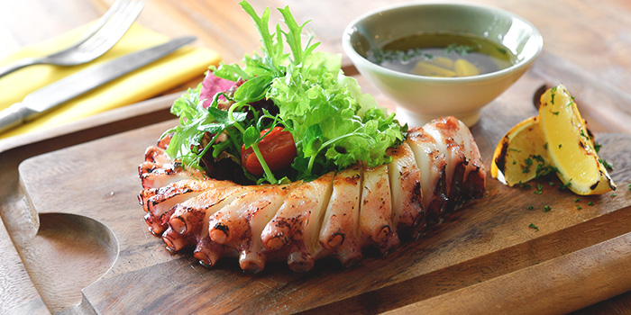 Grilled Atlantic Octopus Leg with Herbs from Blue Lotus Mediterranean Kitchen & Bar in Queenstown, Singapore
