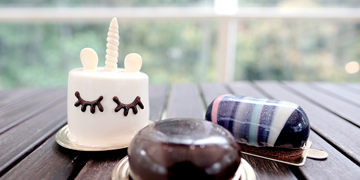 Mini Unicorn, The Rock and Milky Way cake from Boufe Boutique Cafe in Tanglin, Singapore