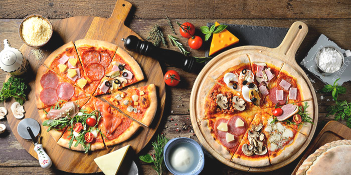 Pizzas from EagleWings Loft at KAP Residences Mall in Bukit Timah, Singapore
