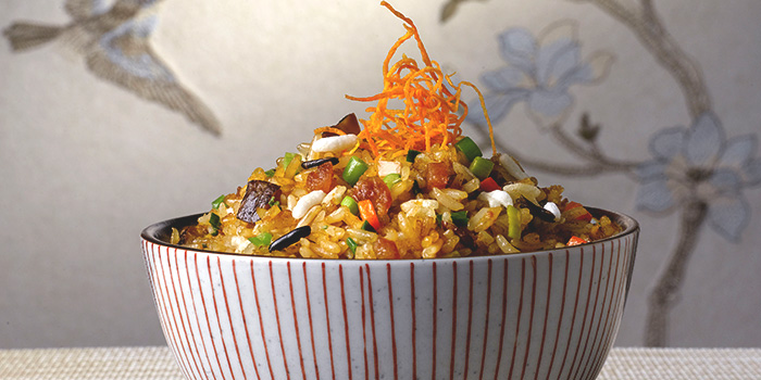 Five Grain Fried Rice with Cantonese Pork Sausage and Vegetables from Cherry Garden in Mandarin Oriental in City Hall, Singapore