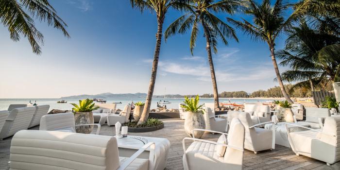 Good Day of Palm Seaside on Bangtao Beach, Phuket, Thailand