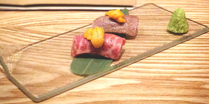 Wagyu Sushi Topped with Sea Urchin from Niku Katsumata in Duxton, Singapore