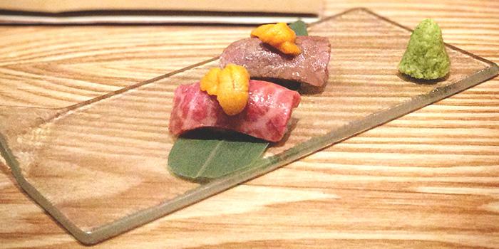 Wagyu Sushi Topped with Sea Urchin from Niku Katsumata in Duxton, Singapore