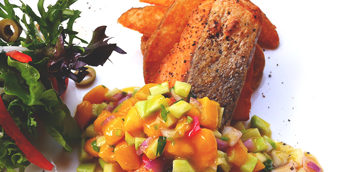 Pan Seared Salmon with Special Mango Salsa from Place to READ in Dhoby Ghaut, Singapore