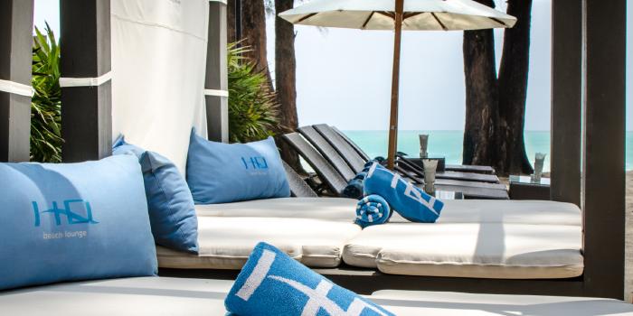Relaxation corner of HQ Beach Lounge on Kamala Beach, Phuket, Thailand