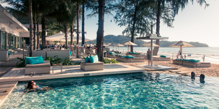 Restaurant Atmosphere of Catch Beach Club in Bangtao Beach, Cherngtalay, Phuket, Thailand.