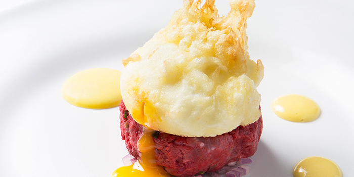 Steak Tartare & Crispy Battered Poached Egg from Tablescape Restaurant & Bar at Grand Park City Hall in City Hall, Singapore