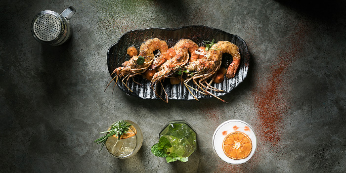 Prawns from fȳr in Raffles Place, Singapore