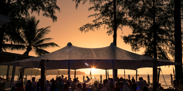 Sunset at Catch Beach Club of Catch Beach Club in Bangtao Beach, Cherngtalay, Phuket, Thailand.